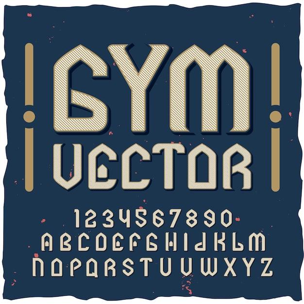 Alfabeto da palestra con typekit di font in stile vintage Vettore gratuito