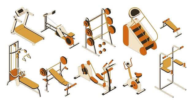 체육관 및 피트니스 클럽 장비 컬렉션. 훈련기구의 아이소 메트릭 세트 프리미엄 벡터
