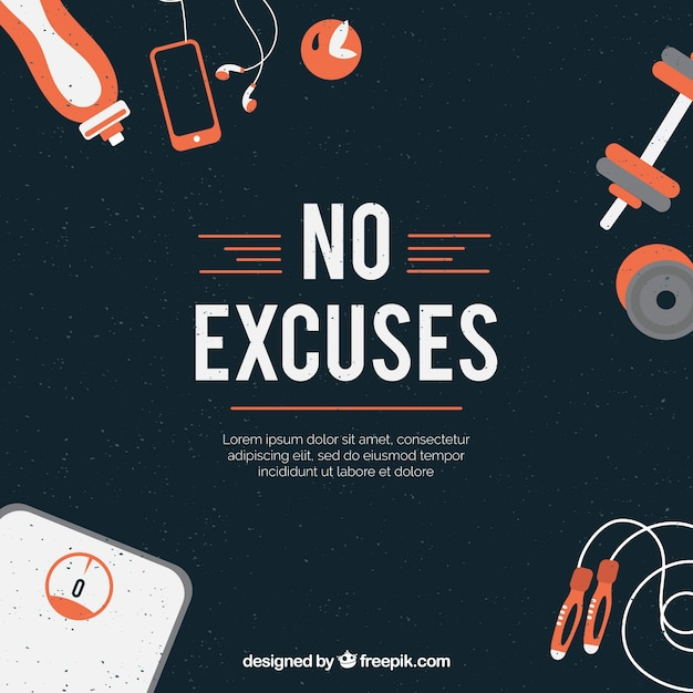 Gym background with inspirational phrase Free Vector