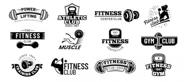 Значки спортзала. бодибилдинг трафарет этикетка, фитнес монохромный силуэт значок и спортсмен мышцы векторные иллюстрации набор Premium векторы