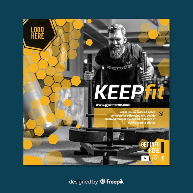 Gym banner or square flyer template with photo Free Vector