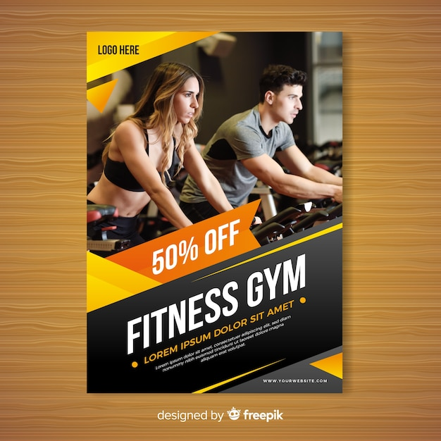 Gym brochure template Free Vector