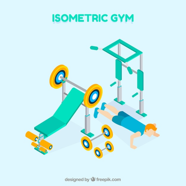 Gym center background in isometric style Free Vector