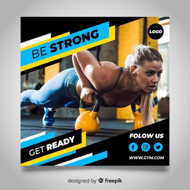 Gym club banner with photo Free Vector