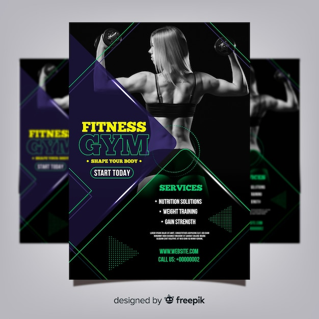 Gym club flyer template with photo Free Vector