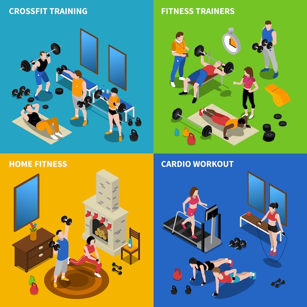 Gym concept icons set Free Vector