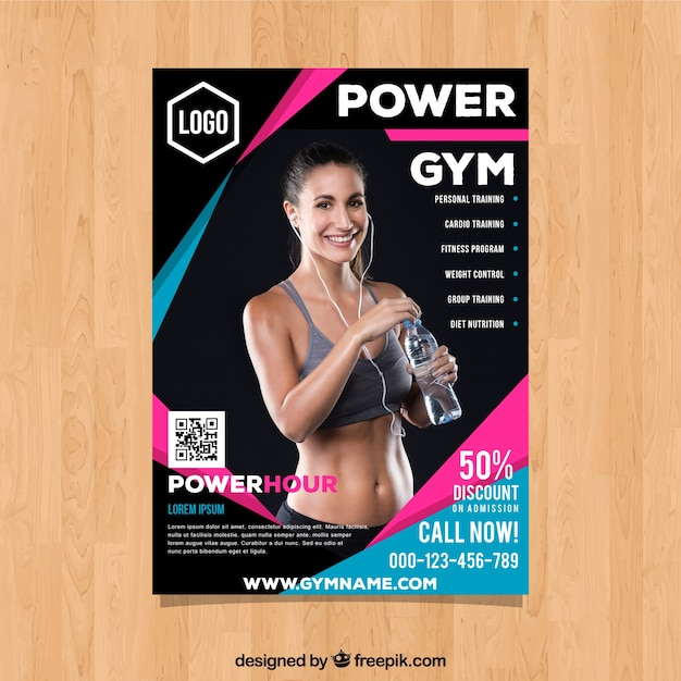 Gym cover template with image of smiling woman Free Vector