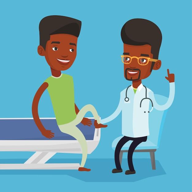 Тренажерный зал доктор проверки лодыжки пациента. Premium векторы