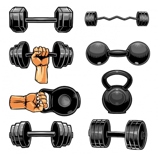 Gym dumbbell collection Premium Vector