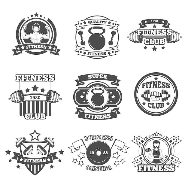 Gym emblems set Free Vector
