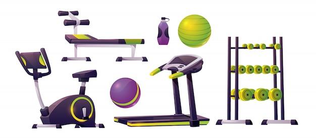운동, 피트니스 및 스포츠를위한 체육관 장비 무료 벡터