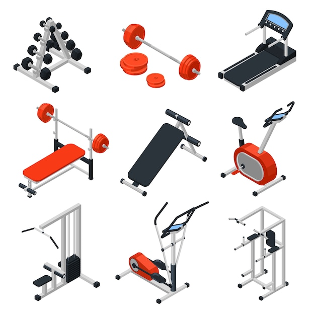 Gym equipment isometric set | Free Vector on Freepik