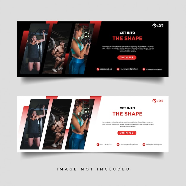 Gym and fitness banner promotion template Premium Vector