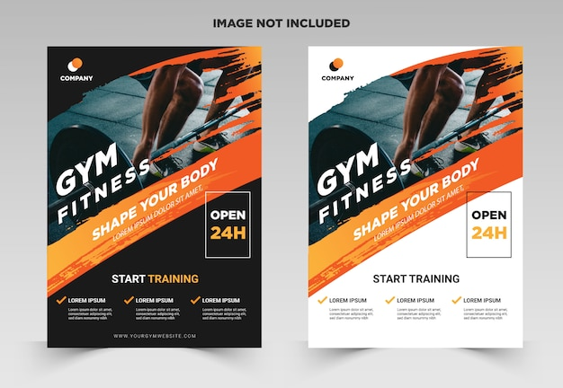 Gym / fitness flyer template with grunge shapes Premium Vector