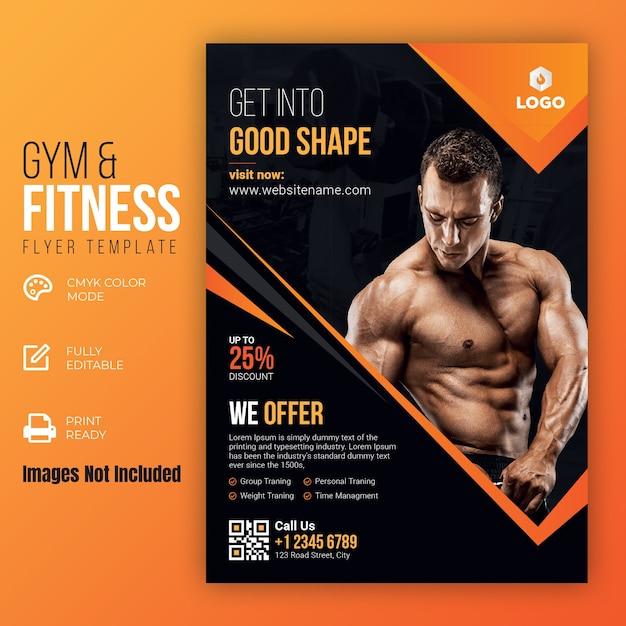 Gym & Fitness Flyer Template Premium Vector