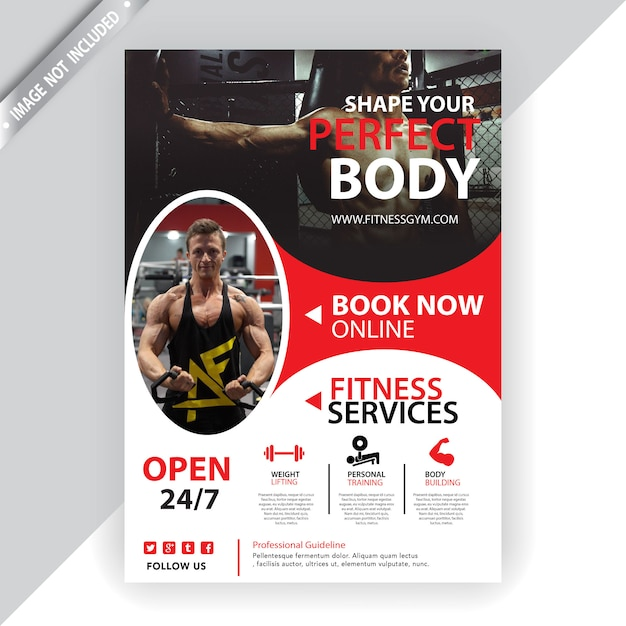 Gym and fitness flyer template Free Vector