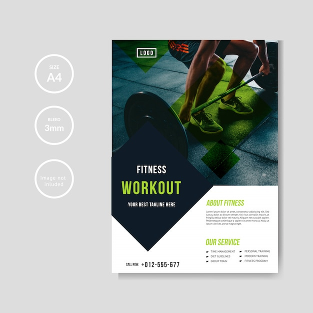 Gym and fitness flyer template Premium Vector