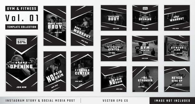 Gym & fitness instagram story and social media post template collection Premium Vector