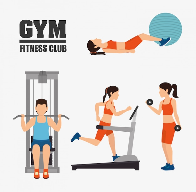 Gym and fitness lifestyle design Premium Vector