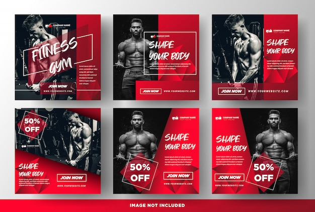 Gym fitness promotion media social post templates Premium Vector