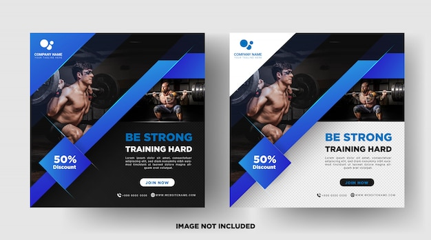 Gym fitness promotion media social post templates Premium Vector