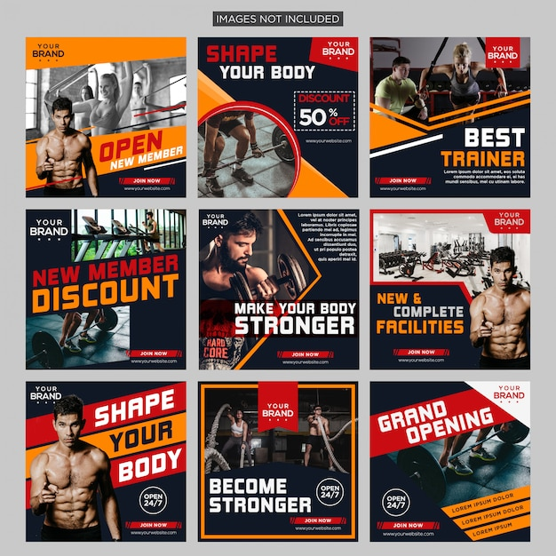 Gym fitness social media post bundle design template premium