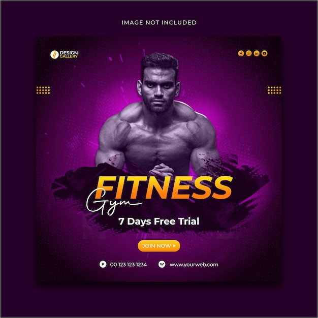 Gym and fitness social media promotional post template design Premium Vector