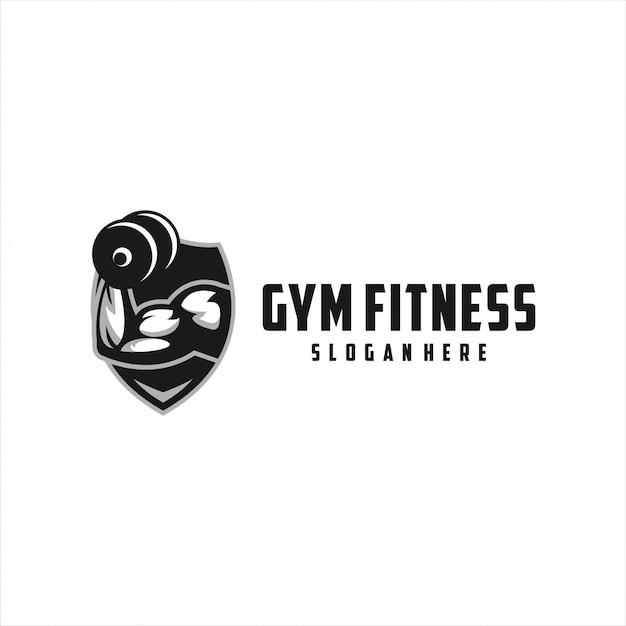Gym fitness strong logo design Premium Vector