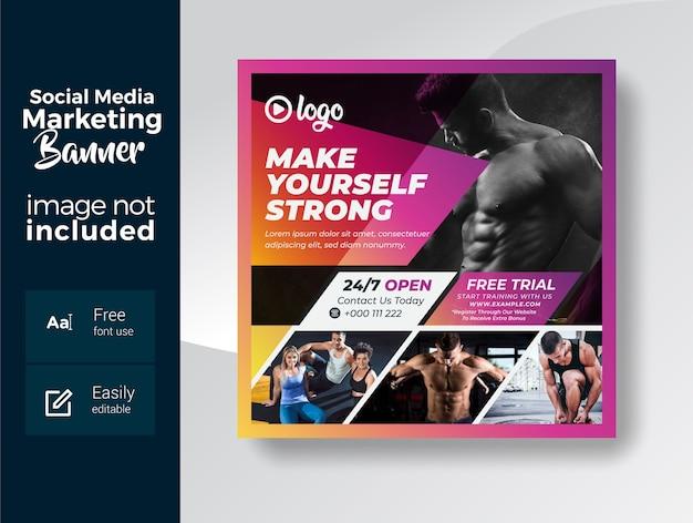 Шаблон баннера в социальных сетях для тренажерного зала и фитнеса Premium векторы