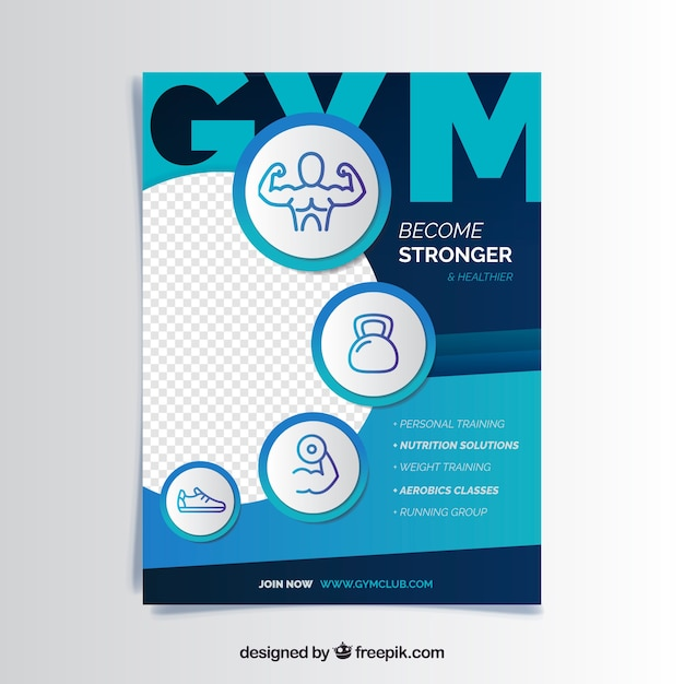 gym flyer template with modern style vector free download