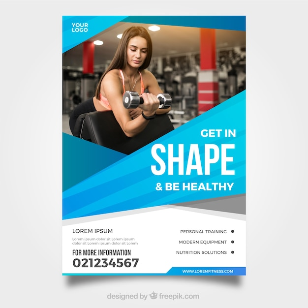 gym flyer template with photo vector free download