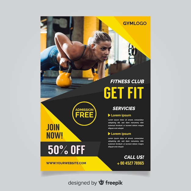 Gym flyer template with photo Free Vector