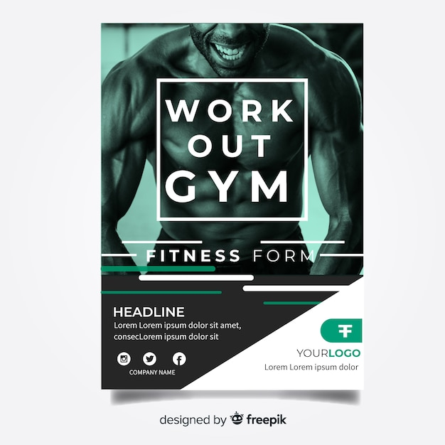 Gym flyer template Free Vector
