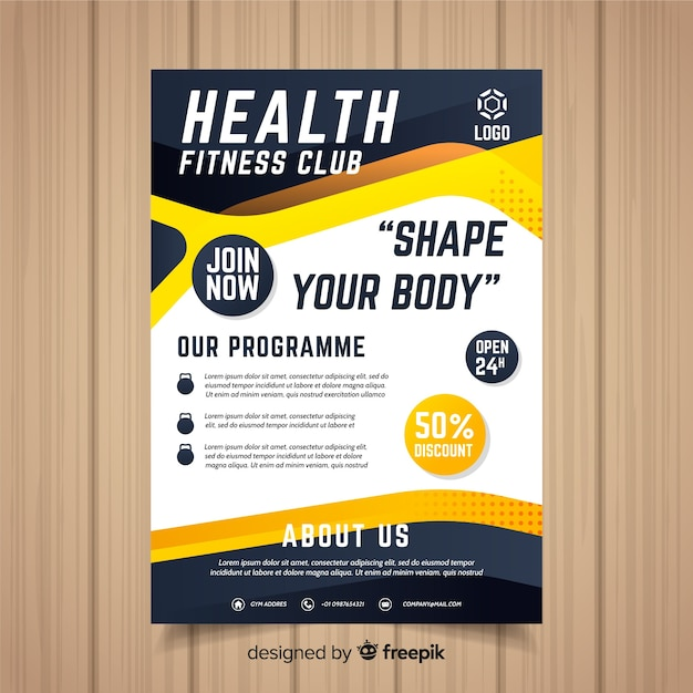 Gym flyer Free Vector