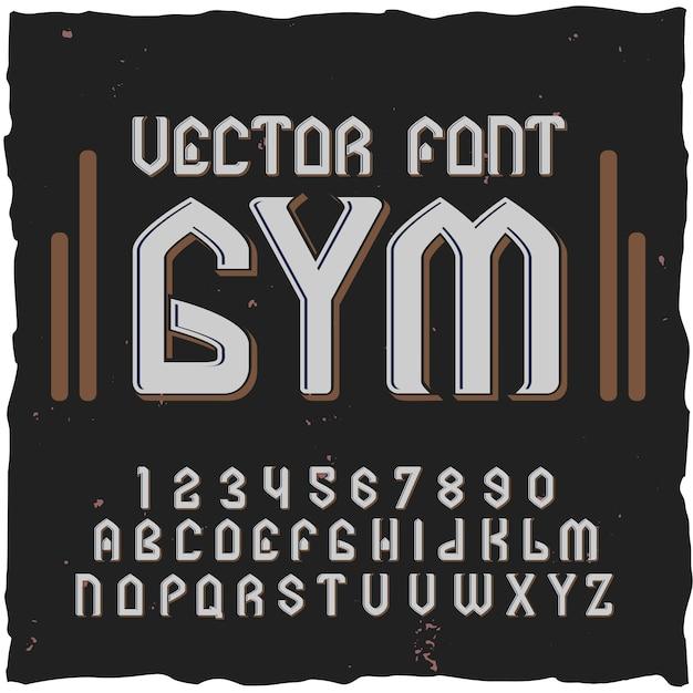 텍스트 레이블 일러스트와 함께 체육관 글꼴 요소 숫자와 문자 무료 벡터