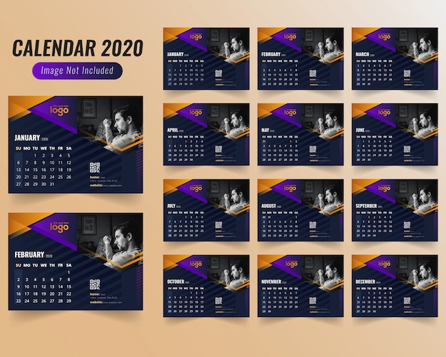 Gym or gymnasium calendar 2020 Premium Vector
