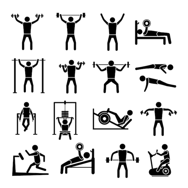 Gym icons collection vector free download