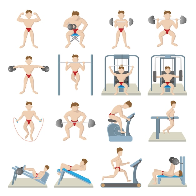 Gym icons set in cartoon style isolated vector Premium Vector