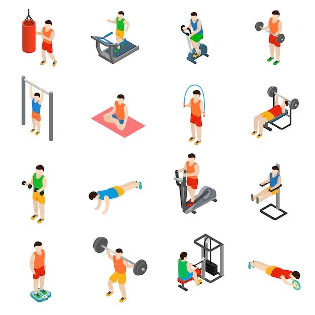 Gym icons set Premium Vector