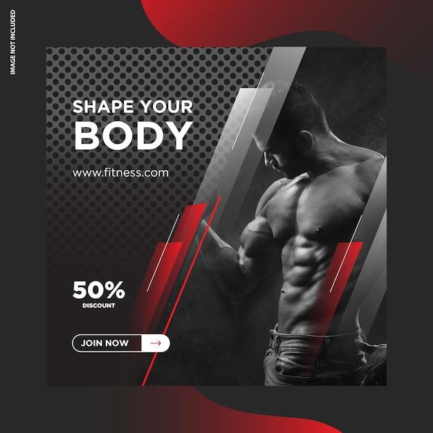Фитнес, gym instagram пост дизайн Premium векторы