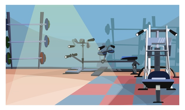 Gym interior illustration vector free download