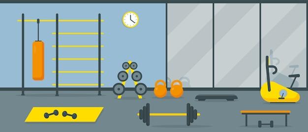 운동 장비와 거울이있는 체육관 인테리어. 프리미엄 벡터