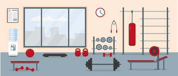 운동 장비와 체육관 인테리어. 피트니스 센터 훈련 공간. 삽화. 프리미엄 벡터