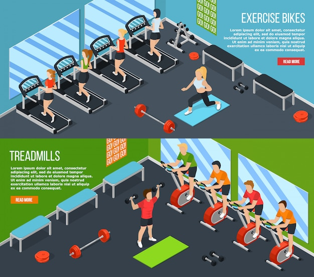 Gym isometric banner set Free Vector