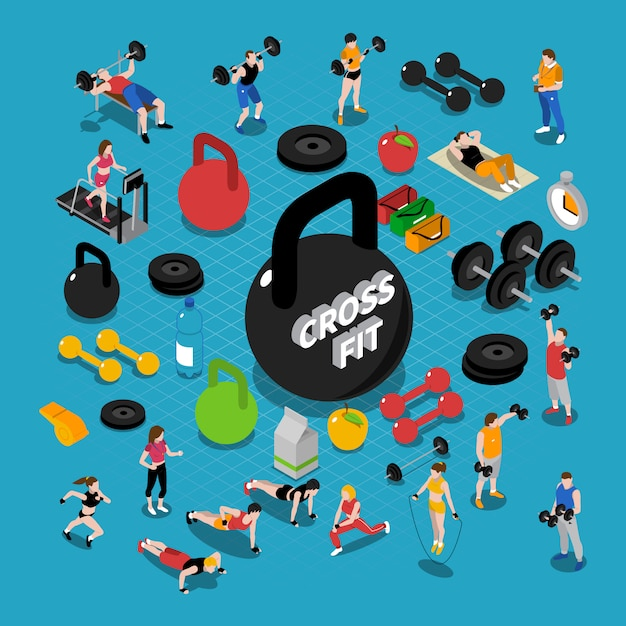Gym isometric composition Free Vector