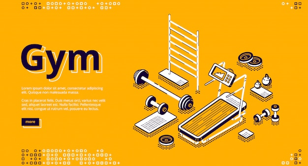 Gym isometric landing page, fitness equipment Free Vector