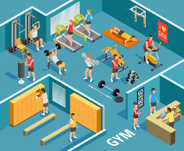 Gym isometric template Free Vector
