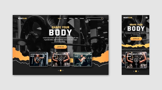 Gym landing page template Free Vector