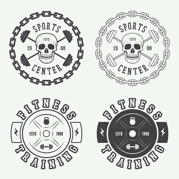 Gym logos, labels and badges Premium Vector