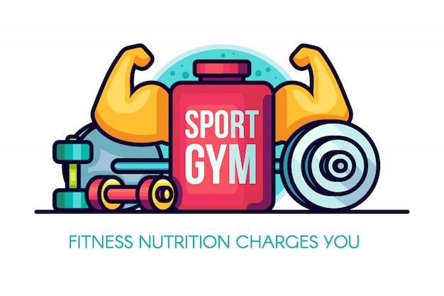 Спортивная иллюстрация gym nutrition Premium векторы